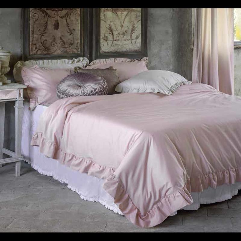 Copripiumino Matrimoniale Rosa.Blanc Mariclo Serie Iris Parure Copripiumino Shabby Chic