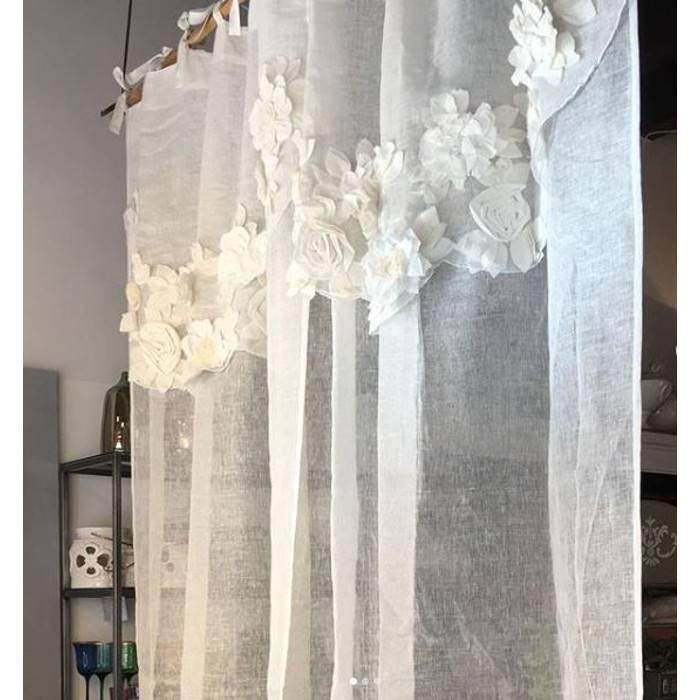 Blanc Mariclò | Tende Shabby Chic | Tenda Serie Fiori di Campo | Colore  Bianco