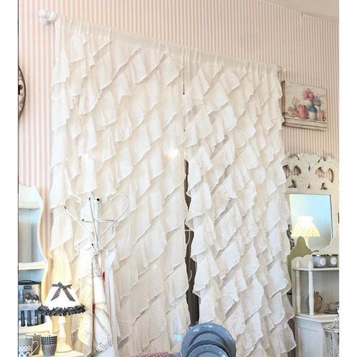 Blanc Mariclò | Tenda Shabby Chic | Serie Magnolia | Colore Bianco