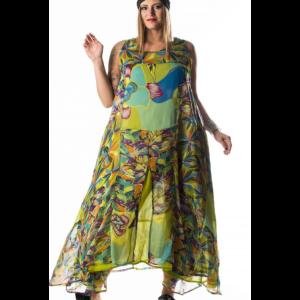 Abbigliamento FormoseGhungroo Fantasia Donne Doppiato Taglie Comode Verde Abito 6Yyf7gmIvb