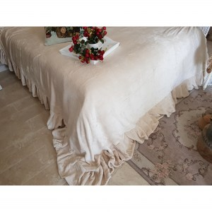 more photos 81c59 92f08 Plaid Coperta Matrimoniale | Copriletti Shabby Chic | Plaid con Volant |  Serie Voilà | Colore Avorio