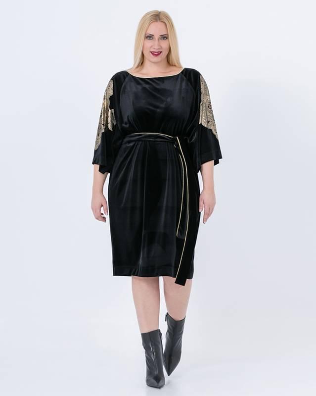 Abiti Eleganti Signora Taglie Forti.Taglie Forti Donna Mat Fashion Abito In Velluto Colore Nero